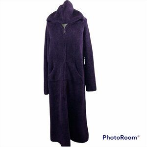 NWT BAREFOOT DREAMS COZY CHIC Dark Purple Teddy Bear Robe